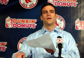 BOSTON - NOVEMBER 2:  Theo Epstein speaks to the press about his resignation as the general manager of the Boston Red Sox November 2, 2005 at Fenway Park in Boston, Massachusetts. Epstein resigned on October 31 nearly a year after the franchise won its fi
