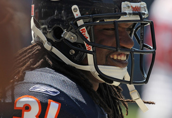 CHICAGO, IL - SEPTEMBER 11: Brandon Meriweather #31 of the Chicago Bears participates in warm-ups before a game against the Atlanta Falcons at Soldier Field on September 11, 2011 in Chicago, Illinois. The Bears defeated the Falcons 30-12. (Photo by Jonath