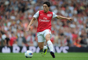 LONDON, ENGLAND - AUGUST 20:  Samir Nasri of Arsenal with the ball during the Barclays Premier League match between Arsenal and Liverpool at the Emirates Stadium on August 20, 2011 in London, England.  (Photo by Michael Regan/Getty Images)