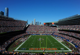 CHICAGO, IL - OCTOBER 2: A general view of Soldier Field during the game between the Chicago Bears and the Carolina Panthers on October 2, 2011 in Chicago, Illinois. (Photo by Scott Cunningham/Getty Images)
