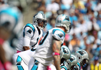CHARLOTTE, NC - OCTOBER 09:  Cam Newton #1 of the Carolina Panthers during their game against the New Orleans Saints at Bank of America Stadium on October 9, 2011 in Charlotte, North Carolina.  (Photo by Streeter Lecka/Getty Images)