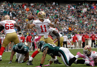 PHILADELPHIA, PA - OCTOBER 02:  Quarterback  Alex Smith #11 of the San Francisco 49ers throws a pass against the Philadelphia Eagles during the first half at Lincoln Financial Field on October 2, 2011 in Philadelphia, Pennsylvania. The 49ers won 24-23.