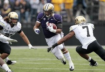 Running back Chris Polk ran for 117 yards on 18 carries against Colorado on October 15, 2011