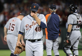 ARLINGTON, TX - OCTOBER 15:  Rick Porcello #48 of the Detroit Tigers reacts after being pulled in the third inning of Game Six of the American League Championship Series at Rangers Ballpark against the Texas Rangers in Arlington on October 15, 2011 in Arl