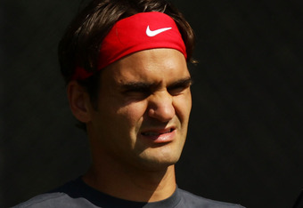 SYDNEY, AUSTRALIA - SEPTEMBER 15:  Roger Federer of Switzerland prepares during a practice session ahead of the Davis Cup World Group Playoff Tie between Australia and Switzerland at Royal Sydney Golf Club on September 15, 2011 in Sydney, Australia.  (Pho
