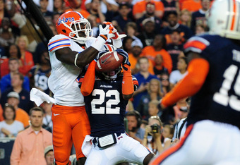 Florida pass is intercepted by Auburn's T'Sharvan Bell