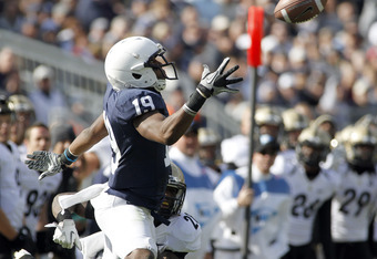 STATE COLLEGE, PA - OCTOBER 15:  Justin Brown #19 of the Penn State Nittany Lions catches a pass against the Purdue Boilermakers during the game on October 15, 2011 at Beaver Stadium in State College, Pennsylvania.  The Nittany Lions defeated the Boilerma