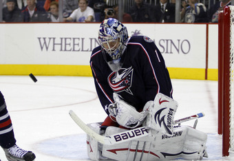 COLUMBUS, OH - OCTOBER 07:  Steve Mason #1 of the Columbus Blue Jackets protects the net against the Nashville Predators during the game at Nationwide Arena on October 7, 2011 in Columbus, Ohio.  (Photo by Justin K. Aller/Getty Images)