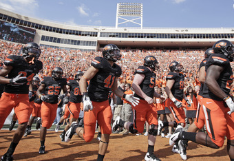 STILLWATER, OK - OCTOBER 8: Oklahoma State takes the field before the game against Kansas October 8, 2011 at Boone Pickens Stadium in Stillwater, Oklahoma.  Oklahoma State defeated Kansas 70-28.  (Photo by Brett Deering/Getty Images)