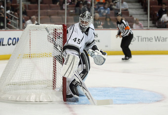 ANAHEIM, CA - SEPTEMBER 30:  Goaltender Jonathan Bernier #45 of the Los Angeles Kings defends his net against the Anaheim Ducks at Honda Center on September 30, 2011 in Anaheim, California.  (Photo by Jeff Gross/Getty Images)
