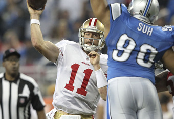Alex Smith and the 49ers offense struggled in the first quarter committing a number of false starts.  San Francisco would receive a total of 15 penalties for 120 yards.