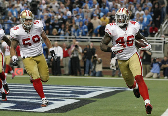 49ers tight end Delanie Walker (#46) caught a touchdown pass with 1:51 left in the fourth quarter which sealed San Francisco's victory.