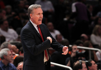 NEW YORK, NY - APRIL 22:  Mike D'Antoni of the New York Knicks reacts as he coaches against the Boston Celtics in Game Three of the Eastern Conference Quarterfinals in the 2011 NBA Playoffs on April 22, 2011 at Madison Square Garden in New York City.  NOT