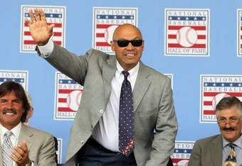 COOPERSTOWN, NY - JULY 24:  Hall of Famer Reggie Jackson is introduced at Clark Sports Center during the Baseball Hall of Fame induction ceremony on July 24, 2011 in Cooperstown, New York.  (Photo by Jim McIsaac/Getty Images)