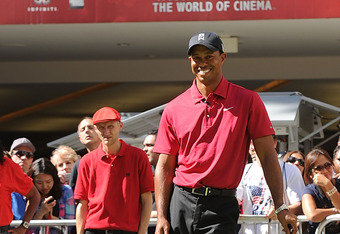 LOS ANGELES, CA - OCTOBER 11:  PGA Player Tiger Woods attends the Chevron World Challenge - Host Tiger Woods makes press announcement for 2011 Field and Putt with local fans held at the Hollywood & Highland Courtyard on October 11, 2011 in Hollywood, Cali