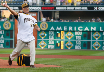 PITTSBURGH - JUNE 21:  Steve Blass #28 of the World Series Champion 1971 Pittsburgh Pirates throws out the first pitch before the game against the Baltimore Orioles on June 21, 2011 at PNC Park in Pittsburgh, Pennsylvania.  (Photo by Jared Wickerham/Getty