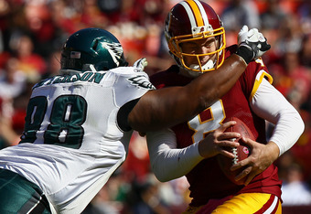 Redskins quarterback Rex Grossman was benched after throwing four interceptions in a 20-13 loss to Philadelphia Sunday.