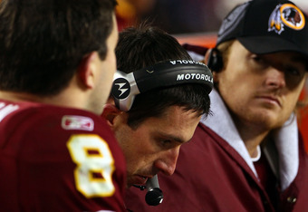 Redskins offensive coordinator Kyle Shanahan called plays for Rex Grossman (left) and now John Beck.