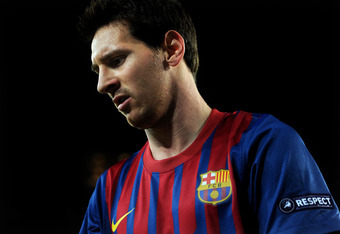 BARCELONA, SPAIN - OCTOBER 19: Lionel Messi of FC Barcelona during the UEFA Champions League group H match between FC Barcelona and FC Viktoria Plzen at the Camp Nou stadium on October 19, 2011 in Barcelona, Spain.  (Photo by Jasper Juinen/Getty Images)