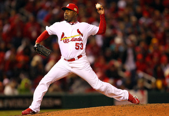 ST LOUIS, MO - OCTOBER 19: Arthur Rhodes #53 of the St. Louis Cardinals pitches in the eighth inning during Game One of the MLB World Series against the Texas Rangers at Busch Stadium on October 19, 2011 in St Louis, Missouri.  (Photo by Dilip Vishwanat/G
