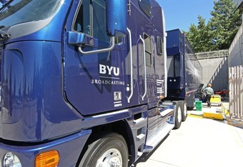 PROVO, UT - SEPTEMBER 1: BYU's new state of the art television truck sits outside Lavell Edwards Stadium, September 1, 2010 in Provo, Utah. TV Exposure was one of the main driving forces compelling BYU to announces today that BYU football will become inde