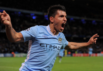 MANCHESTER, ENGLAND - OCTOBER 18:  Sergio Aguero of Manchester City celebrates scoring his team's second goal during the UEFA Champions League Group A match between Manchester City and Villareal CF at the Etihad Stadium on October 18, 2011 in Manchester,