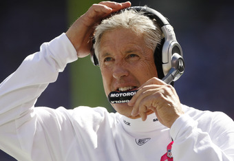 EAST RUTHERFORD, NJ - OCTOBER 9: Head coach Pete Carroll of the Seattle Seahawks  during a game  against the New York Giants at MetLife Stadium on October 9, 2011 in East Rutherford, New Jersey. (Photo by Rich Schultz /Getty Images)