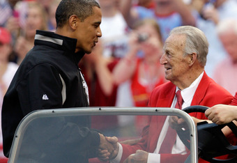 Cardinal great Stan Musial shakes hands with President Barack Obama at the 2009 All Star Game.