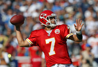 SAN DIEGO, CA - SEPTEMBER 25:  Quarterback Matt Cassel #7 of the Kansas City Chiefs throws the ball from the pocket against the San Diego Chargers during their NFL Game on September 25, 2011 at Qualcomm Stadium in San DIego, California. (Photo by Donald M