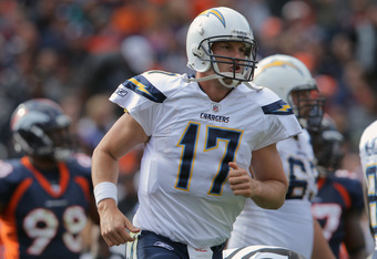 DENVER, CO - OCTOBER 09:  Quarterback Philip Rivers #17 of the San Diego Chargers celebrates his second quarter touchdown run against the Denver Broncos at Sports Authority Field at Mile High on October 9, 2011 in Denver, Colorado. The Chargers defeated t