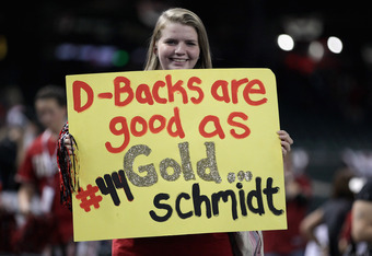 PHOENIX, AZ - OCTOBER 04:  A fan dispalys a sign in support of Paul Goldschmidt #44 of the Arizona Diamondbacks as the Diamondbacks celebrate their 8-1 victory against the Milwaukee Brewers during Game Three of the National League Division Series at Chase