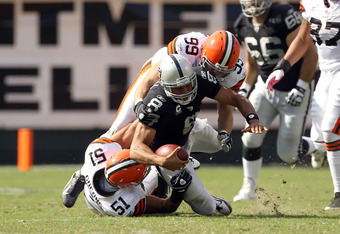 This play, on which Jason Campbell suffered a broken collarbone, will be his final play as quarterback of the Oakland Raiders.