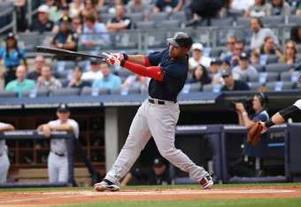 NEW YORK, NY - SEPTEMBER 25:  Carl Crawford of the Boston Red Sox on September 25, 2011 at Yankee Stadium in the Bronx borough of New York City.  (Photo by Nick Laham/Getty Images)