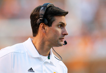KNOXVILLE, TN - OCTOBER 15:  Head coach Derek Dooley of the Tennessee Volunteers walks the sidelines during the game against the LSU Tigers at Neyland Stadium on October 15, 2011 in Knoxville, Tennessee.  (Photo by Kevin C. Cox/Getty Images)