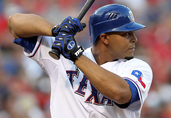 ARLINGTON, TX - JULY 23:  Nelson Cruz #17 of the Texas Rangers at Rangers Ballpark in Arlington on July 23, 2011 in Arlington, Texas.  (Photo by Ronald Martinez/Getty Images)