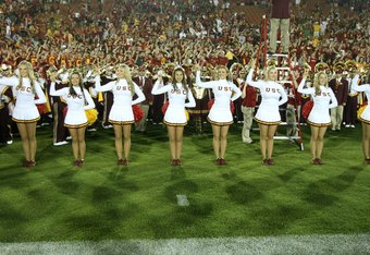 LOS ANGELES - SEPTEMBER 23: The USC Song Girls perform after the game between the USC Trojans and the Washington State Cougars on September 23, 2009 at the Los Angeles Coliseum in Los Angeles, California.  USC won 27-6.   (Photo by Stephen Dunn/Getty Imag