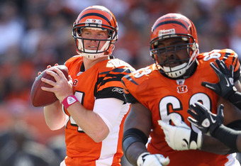 CINCINNATI, OH - OCTOBER 16:  Andy Dalton #14 of the Cincinnati Bengals throws a pass during the NFL game against the Indianapolis Colts at Paul Brown Stadium on October 16, 2011 in Cincinnati, Ohio. The Bengals won 27-17.  (Photo by Andy Lyons/Getty Imag