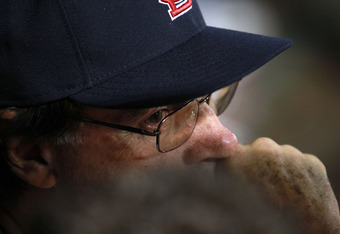 ARLINGTON, TX - OCTOBER 23: Manager Tony La Russa looks on from the dugout during Game Four of the MLB World Series against the Texas Rangers at Rangers Ballpark in Arlington on October 23, 2011 in Arlington, Texas.  (Photo by Ronald Martinez/Getty Images