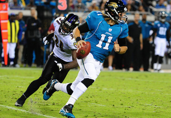 JACKSONVILLE, FL - OCTOBER 24: Blaine Gabbert #11 of the Jacksonville Jaguars scrambles against the Baltimore Ravens at EverBank Field on October 24, 2011 in Jacksonville Florida. (Photo by Scott Cunningham/Getty Images)