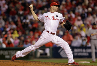 PHILADELPHIA, PA - OCTOBER 02:  Ryan Madson #46 of the Philadelphia Phillies throws a pitch against the St. Louis Cardinals during Game Two of the National League Division Series at Citizens Bank Park on October 2, 2011 in Philadelphia, Pennsylvania.  (Ph