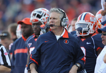 CHAMPAIGN, IL - OCTOBER 15:  Head coach Ron Zook of the Illinois Fighting Illini watches as his team takes on the Ohio State Buckeyes at Memorial Stadium on October 15, 2011 in Champaign, Illinois. Ohio State defeated Illinois 17-7.  (Photo by Jonathan Da