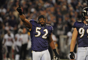 BALTIMORE - OCTOBER 16:  Ray Lewis #52 of the Baltimore Ravens celebrates his team's victory against the Houston Texans at M&T Bank Stadium on October 16. 2011 in Baltimore, Maryland. The Ravens defeated the Texans 29-14. (Photo by Larry French/Getty Imag