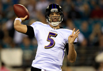 JACKSONVILLE, FL - OCTOBER 24:  Joe Flacco #5 of the Baltimore Ravens attempts a pass during the game against the Jacksonville Jaguars at EverBank Field on October 24, 2011 in Jacksonville, Florida.  (Photo by Sam Greenwood/Getty Images)