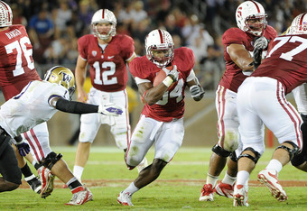 STANFORD, CA - OCTOBER 22:  Jeremy Stewart #34 of Stanford Cardinal runs with the ball against the Washington Huskies at Stanford Stadium on October 22, 2011 in Stanford, California. Stanford won the game 65-21. (Photo by Thearon W. Henderson/Getty Images
