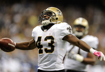 NEW ORLEANS, LA - OCTOBER 23:  Darren Sproles #43 of the New Orleans Saints celebrates a touchdown against the Indianapolis Colts during a game being held at Mercedes-Benz Superdome on October 23, 2011 in New Orleans, Louisiana.  The Saints defeated the C