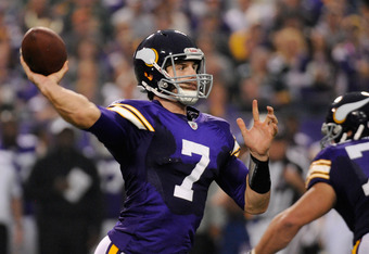 MINNEAPOLIS, MN - OCTOBER 23: Christian Ponder #7 of the Minnesota Vikings passes the ball against the Green Bay Packers in the fourth quarter on October 23, 2011 at Hubert H. Humphrey Metrodome in Minneapolis, Minnesota. The Packers defeated the Vikings