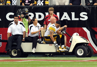 GLENDALE, AZ - OCTOBER 23:  Hines Ward #86 of the Pittsburgh Steelers is carted off the field early in the second half against the Arizona Cardinals at University of Phoenix Stadium on October 23, 2011 in Glendale, Arizona. Steelers won 32-20.   (Photo by