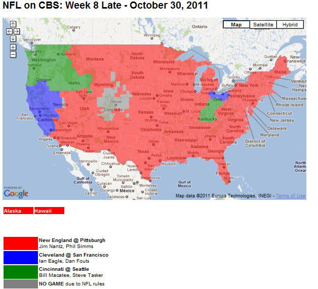 San Diego Chargers Game Channel: NFL TV Schedule Week 8: Coverage Maps For All CBS And Fox