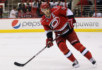 RALEIGH, NC - OCTOBER 07:  Brandon Sutter #16 of the Carolina Hurricanes skates against  the Tampa Bay Lightning at the RBC Center on October 7, 2011 in Raleigh, North Carolina. The Lightning defeated the Hurricanes 5-1.  (Photo by Bruce Bennett/Getty Ima