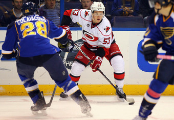 ST. LOUIS, MO - OCTOBER 21: Jeff Skinner #53 of the Carolina Hurricanes looks to pass the puck against the St. Louis Blues at the Scottrade Center  on October 21, 2011 in St. Louis, Missouri.  The Blues beat the Hurricanes 3-2 in overtime.  (Photo by Dili